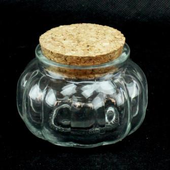 Barattolo zucca tondo in vetro con tappo in sughero Portaconfetti Segnaposto Confettata