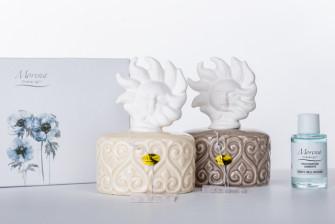 D8131 Profumatore Moderno in Porcellana Bianco Panna con Sole Sun Shabby Chic Diffusore Profumo