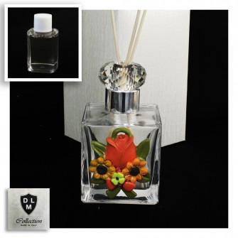 Diffusore Profumatore Argento Silver Fiori Rosa Girasole con Anello Blasone in cristallo Bottiglia Profumo Ambiente