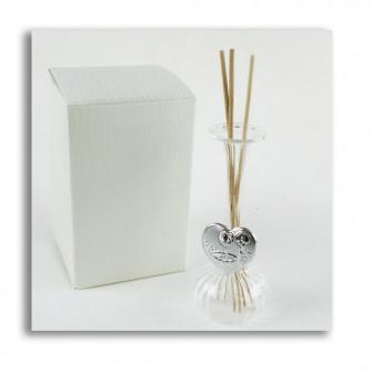 Diffusore Profumatore con Cuore per Battesimo Bottiglia in vetro soffiato