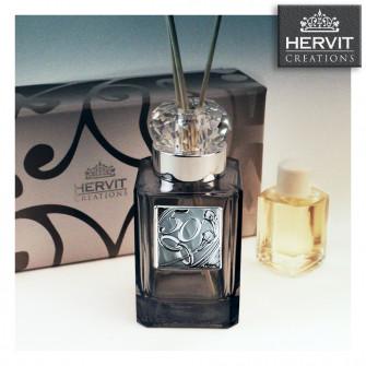 Diffusore Profumatore Hervit con Anello in cristallo eCoppia Fedi 50 Anniversario Nozze d'Oro Cinquantesimo Matrimonio Bottiglia Profumo