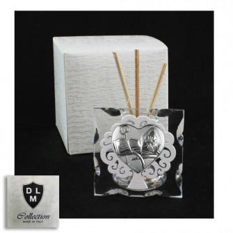 Diffusore Profumatore in Vetro Cuore Calice per Santa Cresima e Albero della Vita in Legno Bianco