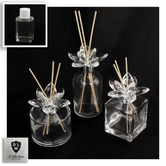 Diffusore Profumatore Silver con Fiore in Cristallo Bottiglia Profumo Ambiente
