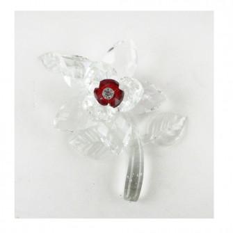 Fiore in cristallo colorato con Stelo e Foglie Segnaposto Confettata 25 50 Anniversario Matrimonio Battesimo Comunione