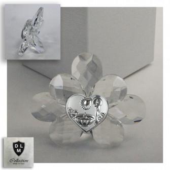 Icona Fiore Cristallo Cuore Calice per Battesimo
