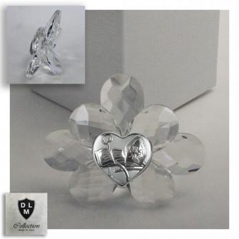 Icona con Fiore in Cristallo e Cuore per Santa Cresima