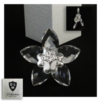 Icona Fiore in Cristallo con Quadrifoglio Albero della Vita Matrimonio Battesimo Comunione