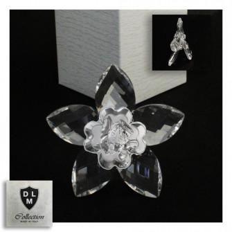 Icona Fiore in Cristallo con Quadrifoglio Angelo Angioletto Neonato Nascita