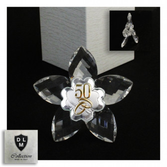 Icona Fiore in Cristallo con Quadrifoglio Coppia Fedi 50 Anniversario Nozze D'oro Cinquantesimo