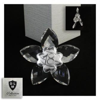 Icona Fiore in Cristallo con Quadrifoglio Festa 18 Anni Diciottesimo Compleanno