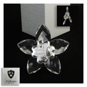 Icona Fiore in Cristallo con Quadrifoglio per Santa Cresima