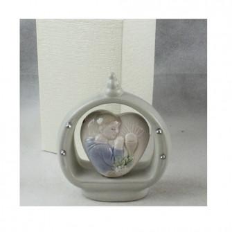 Icona in ceramica Cuore con Bimbo Bambino in Preghiera Calice Comunione