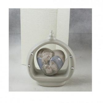Icona in ceramica Cuore con Sacra Famiglia Strass per Nozze Comunione Battesimo
