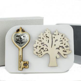 Icona in Ecopelle Laurea Chiave e Albero della Vita Confettata Idea Regalo