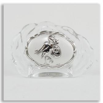 Icona in vetro Cicogna Nascita Bimbo Bimba Segnaposto Conchiglia