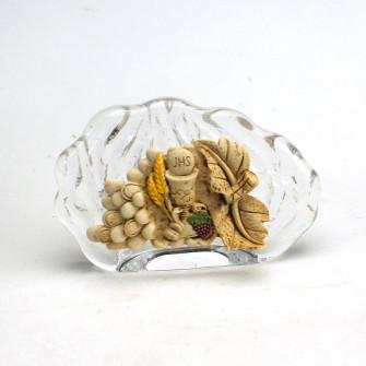 Icona in vetro Conchiglia Vite Grappolo d'Uva e Calice della Prima Comunione