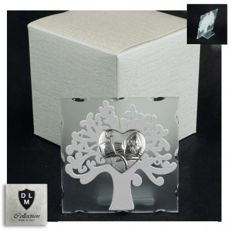 Icona in Vetro Cuore Calice per Santa Cresima e Albero della Vita in Legno Bianco