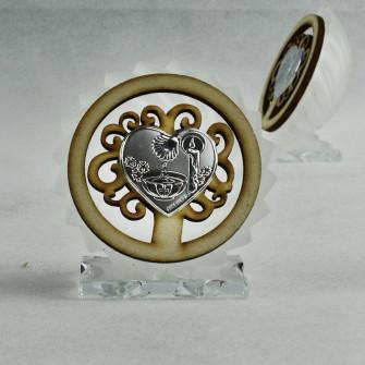 Icona in vetro e legno con Albero della Vita per Battesimo