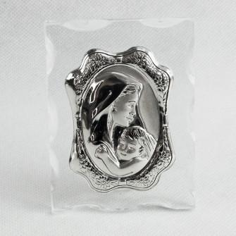 Icona in vetro Madonna con Bambino Confettata Nozze Battesimo Comunione
