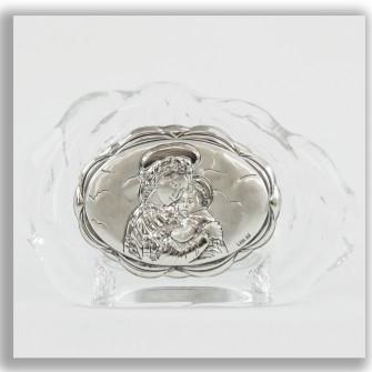Icona in vetro Madonna con Bambino Segnaposto Conchiglia