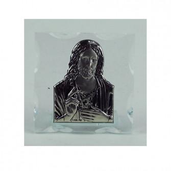 Icona Sacra in vetro con Gesù Segnaposto Nozze Comunione Battesimo