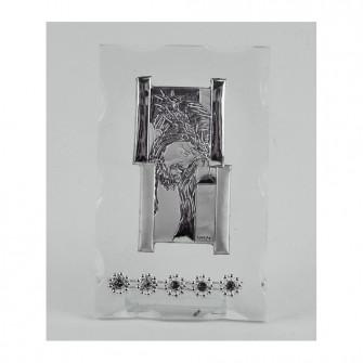 Icona Sacra in vetro con Strass Gesù Confettata Nozze Comunione Battesimo