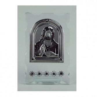 Icona Sacra in vetro con Strass Gesù Segnaposto Nozze Comunione Battesimo