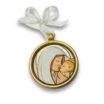 Icona tonda Medaglione Madonna con Bambino Confettata Segnaposto