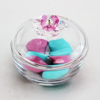 Scatola portagioie in vetro con fiore cristallo