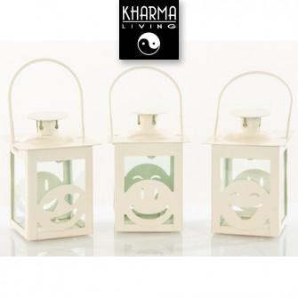 Lanterna Bianca Decorativa Faccine Emoticon Smile linea Morena Compleanno Matrimonio Shabby Chic Originali