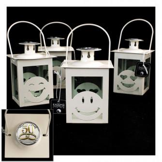 Lanterna Bianca Faccine Emoticon Smile con Icona Fedi 50 Anniversario D'oro Cinquantesimo Matrimonio Kharma Living Shabby Chic
