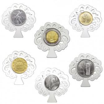 Magnete Calamita Albero della Vita in Legno con Moneta Lira Lire Repubblica Italiana 1946-2001 Pre-euro Monete d'Epoca