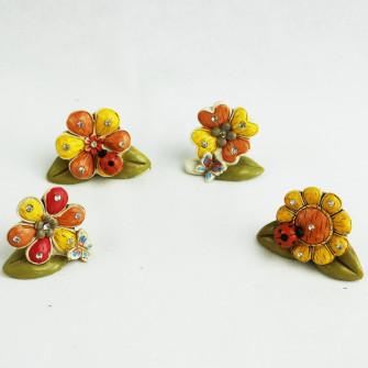 Margherita Quadrifoglio Girasole con Farfalla e Coccinella Portafortuna