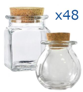 Kit 48 pz - Barattolo in vetro con tappo in sughero Portaconfetti