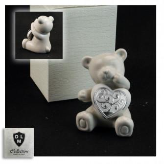 Orso Orsetto Orsacchiotto in ceramica con Cuore Albero della Vita Matrimonio Nozze Battesimo Comunione