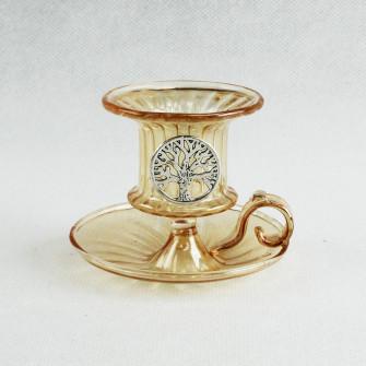 Porta Candela Bugia Candeliere in vetro soffiato con Albero della Vita