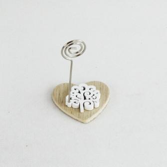 Portafoto Memo Clip Cuore in legno con Albero della Vita Bianco