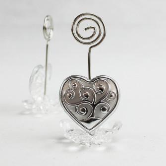 Portafoto Memo Clip fiore in cristallo con Cuore Albero della Vita