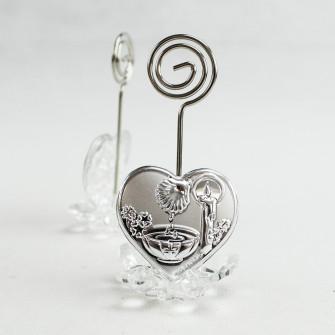 Portafoto Memo Clip fiore in cristallo con Cuore per Battesimo