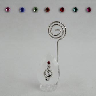 Portafoto Memo Clip in Cristallo con Chiave di Violino Sol Musica Confettata Segnaposto