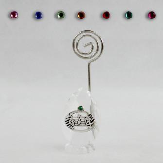 Portafoto Memo Clip in Cristallo con Chiave di Violino Sol Pentagramma Confettata Segnaposto
