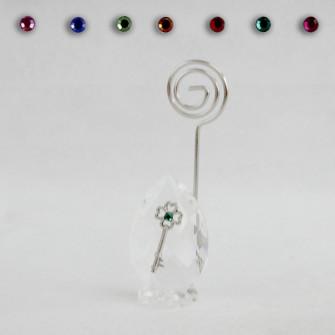 Portafoto Memo Clip in Cristallo con Chiave Quadrifoglio Portafortuna Confettata Segnaposto