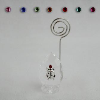 Portafoto Memo Clip in Cristallo con Coccinella Portafortuna Confettata Segnaposto