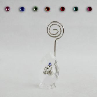 Portafoto Memo Clip in Cristallo con Coppia Cigni Innamorati Nozze Confettata Segnaposto