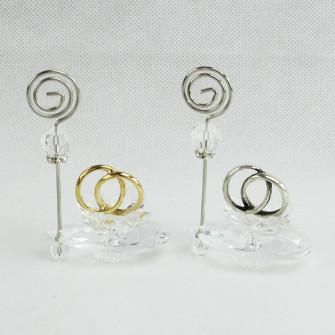 Portafoto Memo Clip in cristallo con Coppia Fedi Nozze Oro Argento Nozze Anniversario