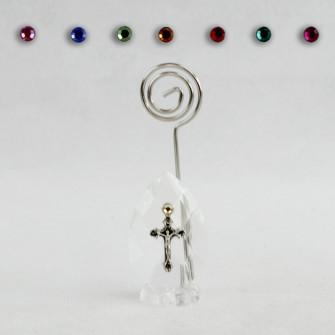 Portafoto Memo Clip in Cristallo con Crocifisso Confettata Segnaposto