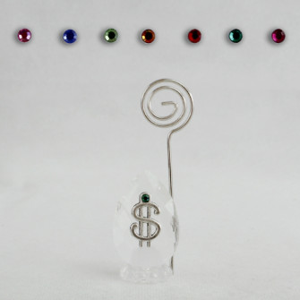 Portafoto Memo Clip in Cristallo con Dollaro Dollari Soldi Portafortuna Confettata Segnaposto
