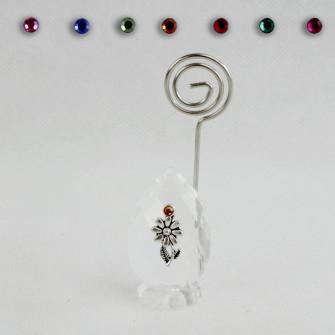 Portafoto Memo Clip in Cristallo con Fiore Margherita Confettata Segnaposto