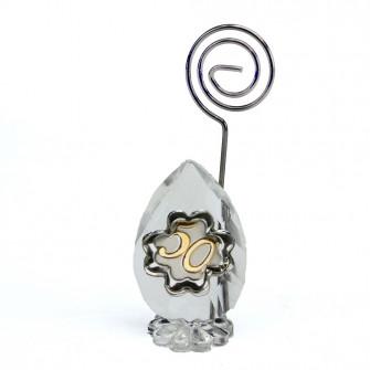 Portafoto Memo Clip in Cristallo Quadrifoglio 50 Anniversario Nozze D'oro Cinquantesimo Compleanno Confettata Segnaposto