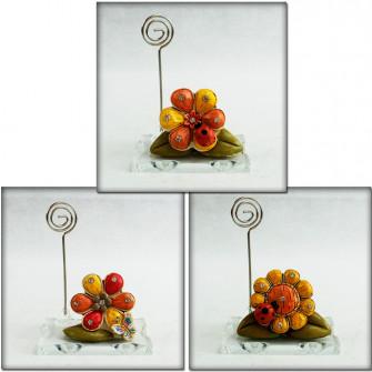 Portafoto Memo Clip in vetro Quadrifoglio Girasole con Farfalla e Coccinella Portafortuna